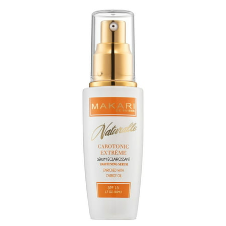 Makari Naturalle Carotonic Extreme Skin Lightening Serum 1.7oz – Toning & Brightening Face Serum with Carrot Oil & SPF 15 – Anti-Aging Whitening Treatment for Acne Scars, Dark Spots &