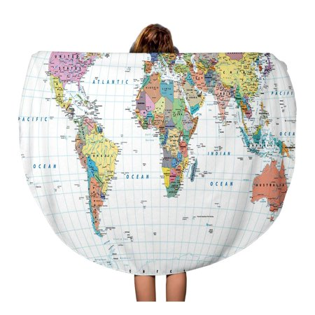 SIDONKU 60 inch Round Beach Towel Blanket Colored World Map Borders Countries Roads and Cities White Travel Circle Circular Towels Mat Tapestry Beach Throw Circa Travel Map