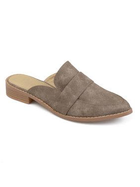 b937353478bf Women s Faux Leather Slip-on Almond Toe Mules