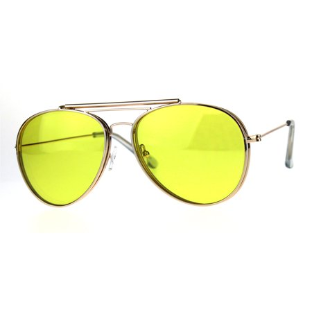 Mens Color Flip Up Lens Metal Rim Pilots Sunglasses Gold Yellow