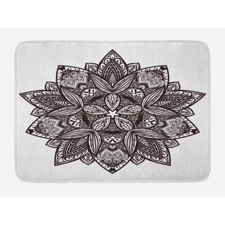 Lotus Bath Mat, Ethnic Paisley Mandala Tribal Oriental Style Vintage Tattoo Artistic Pattern, Non-Slip Plush Mat Bathroom Kitchen Laundry Room Decor, 29.5 X 17.5 Inches, Seal Brown White, Ambesonne](Halloween Tattoos Oriental Trading)
