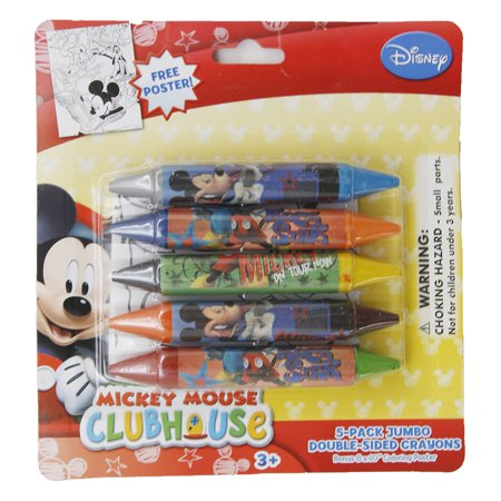 Disney Mickey Mouse Club House Jumbo Crayons 5 Pack Double (Double Sided Crayons)