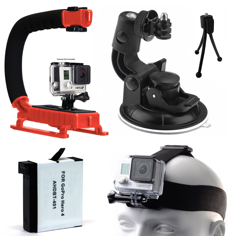 Stabilizer Grip (Red)   Car Mount   Battery   Head Strap for GoPro HERO4 Hero 4
