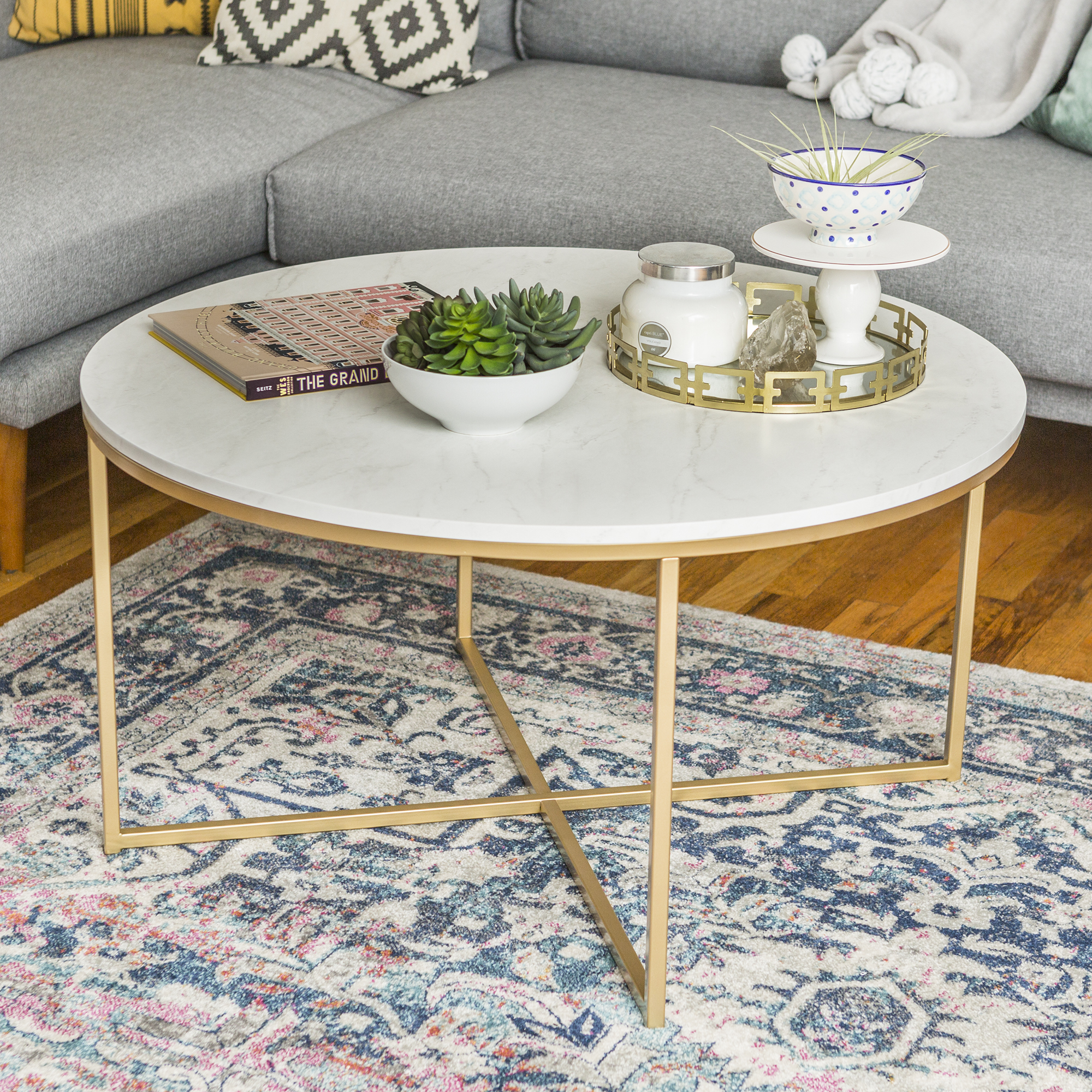 Manor Park Round Mid-Century Modern with X-Base Coffee Table - White Marble/Gold