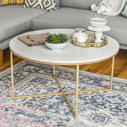 Daisy Faux Marble and Gold Round Coffee Table