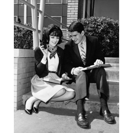 Two College Students Holding Books And Listening To A Portable Radio Poster Print