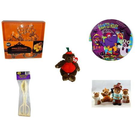 Halloween Fun Gift Bundle [5 Piece] - Wilton Autumn 8-Piece Cookie Cutter Set - McDonald's Haunted House, RIP, Boo  Plate - Ty Attic Treasures