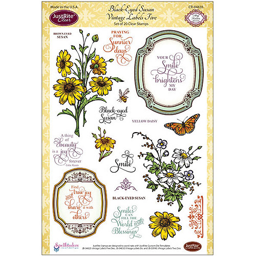 "JustRite Papercraft Clear Stamp Set, 6"" x 8"", Black-Eyed Susan Vintage Labels #5, 20-Piece"