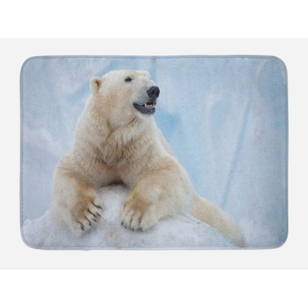 Zoo Bath Mat, Portrait of Large White Polar Bear on Ice Claws Antarctica North Outdoors, Non-Slip Plush Mat Bathroom Kitchen Laundry Room Decor, 29.5 X 17.5 Inches, Pale Blue Cream White, Ambesonne