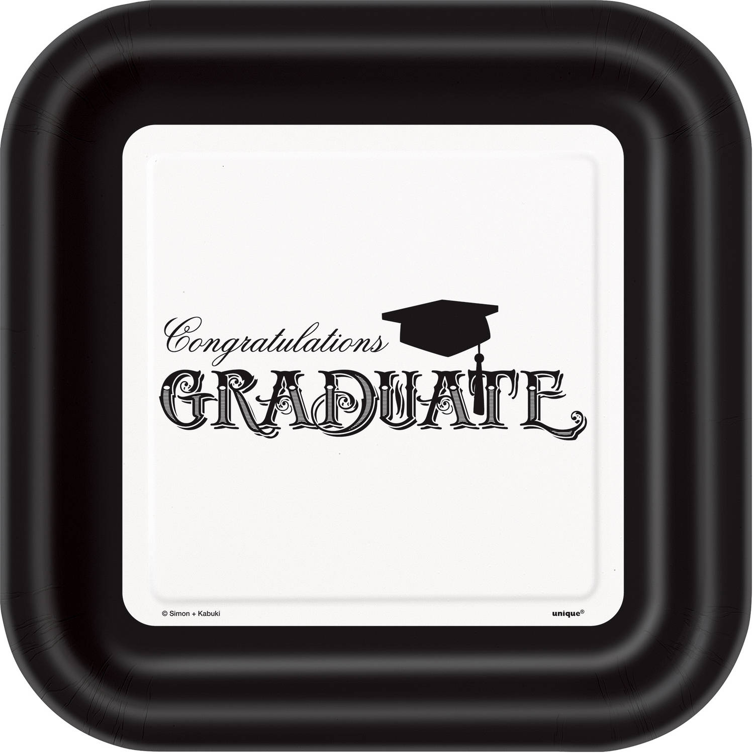 Square Classic Graduation Paper Plates, 9 in, 8ct