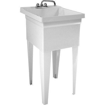 Fiat Residential Floor Mounted Fiberglass Reinforced Polyester Resin, Laundry Sink FL7100 White