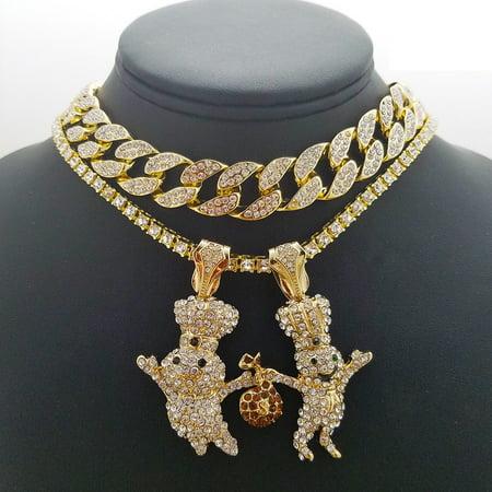 Hip Hop 14K Gold Plated 2 DOUGH BOY Pendant & 18