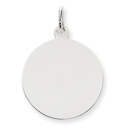 14k White Gold Plain 0.011 Gauge Round Engravable Disc Charm (1.1in long x 0.8in wide) White Gold Round Charm