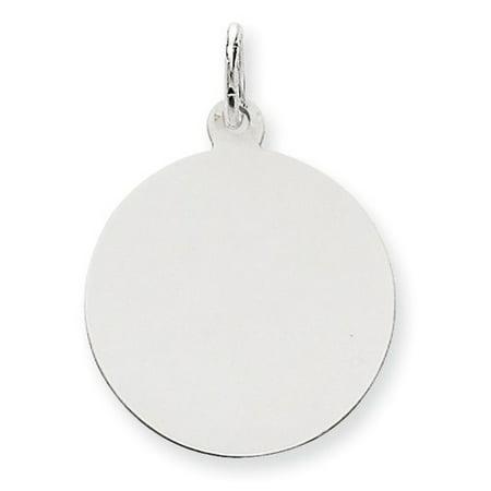 Engravable Round Disc Charm - 14k White Gold Plain 0.011 Gauge Round Engravable Disc Charm (1.1in long x 0.8in wide)