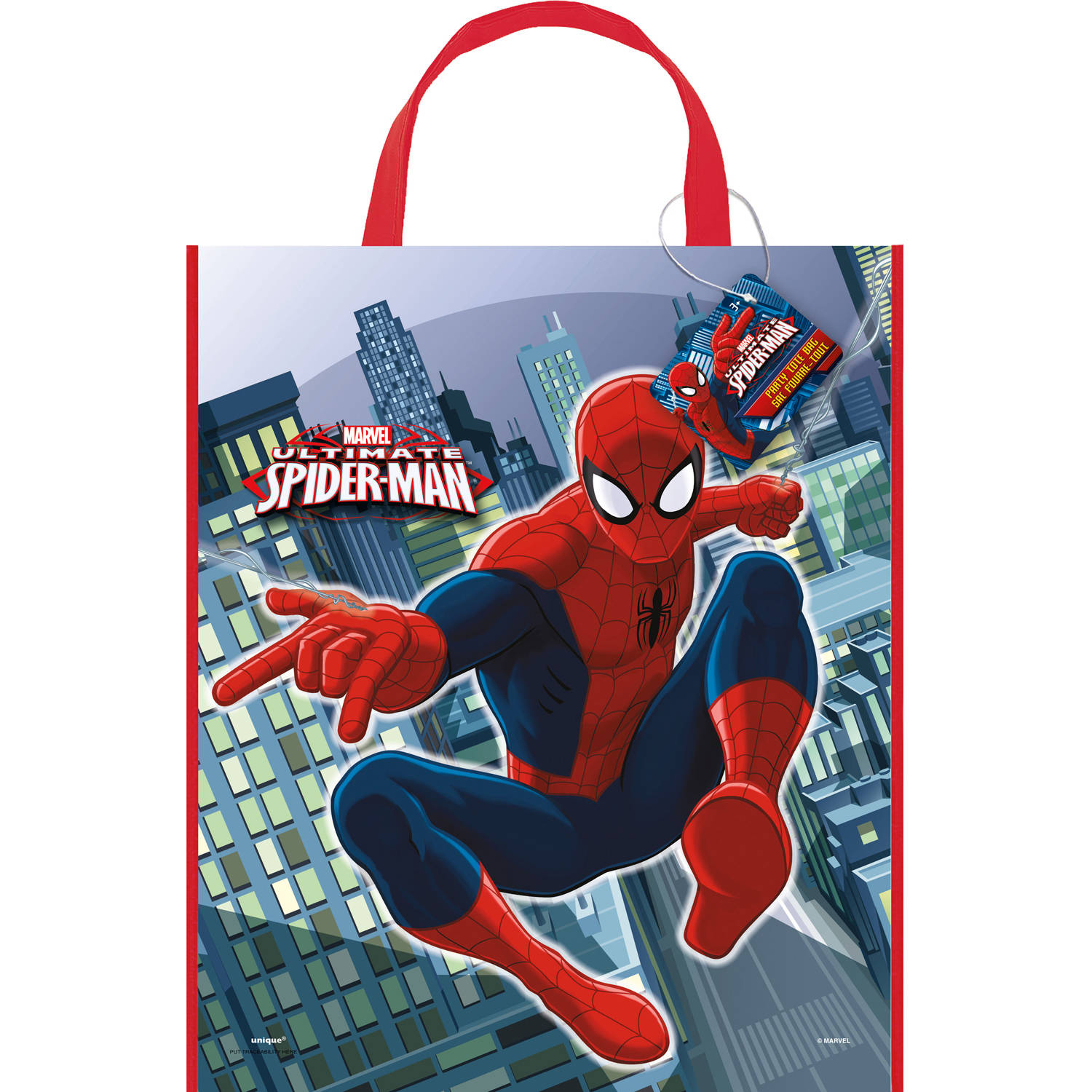 "Large Plastic Spiderman Favor Bag, 13"" x 11"""