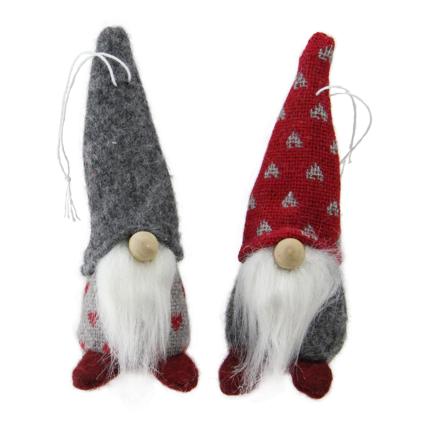 "NORTHLIGHT 2ct Santa Gnomes Christmas Ornament Set 4.25"" - Gray/Red"