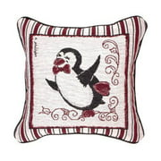"""12"""" Black and Red Dancing Snow Penguin Christmas Tapestry Accent Throw Pillow"""