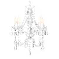 Best Choice Products Acrylic Crystal Chandelier Ceiling Light Fixture for Dining Room, Foyer, Bedroom, White