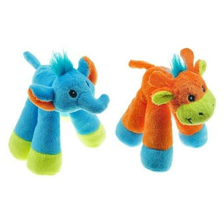 "Dog Toys Mini Long Leg Safari Pals PlushSqueakers 6"" Choose Elephant or Giraffe (Set of Both Toys)"