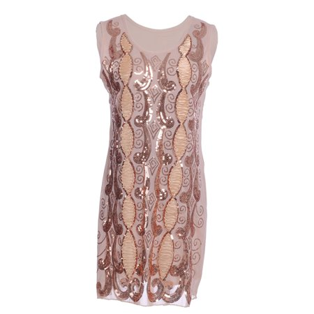 Womens Beige Sequin Flapper Embroidered Sleeveless Swirl Ribbon Dress](Fringe Dress Flapper)