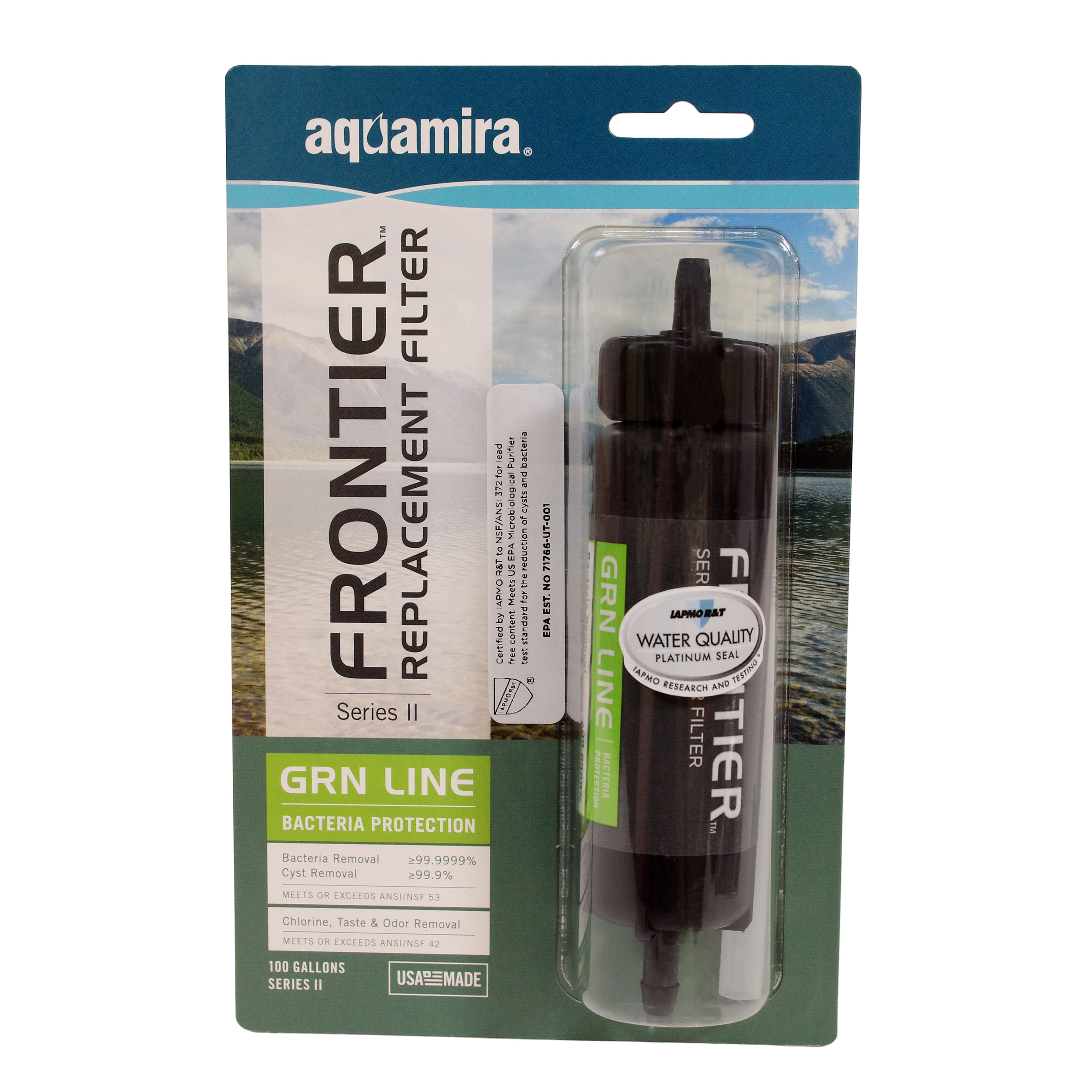 Aquamira Frontier Replacement Bottle Filter Grn II Series, 100 Gallons (378L) and Up To 800ml Per Minute by Aquamira