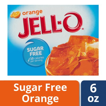 (4 Pack) Jell-O Orange Sugar Free Gelatin, 0.6 oz (Sugar Free Splash)