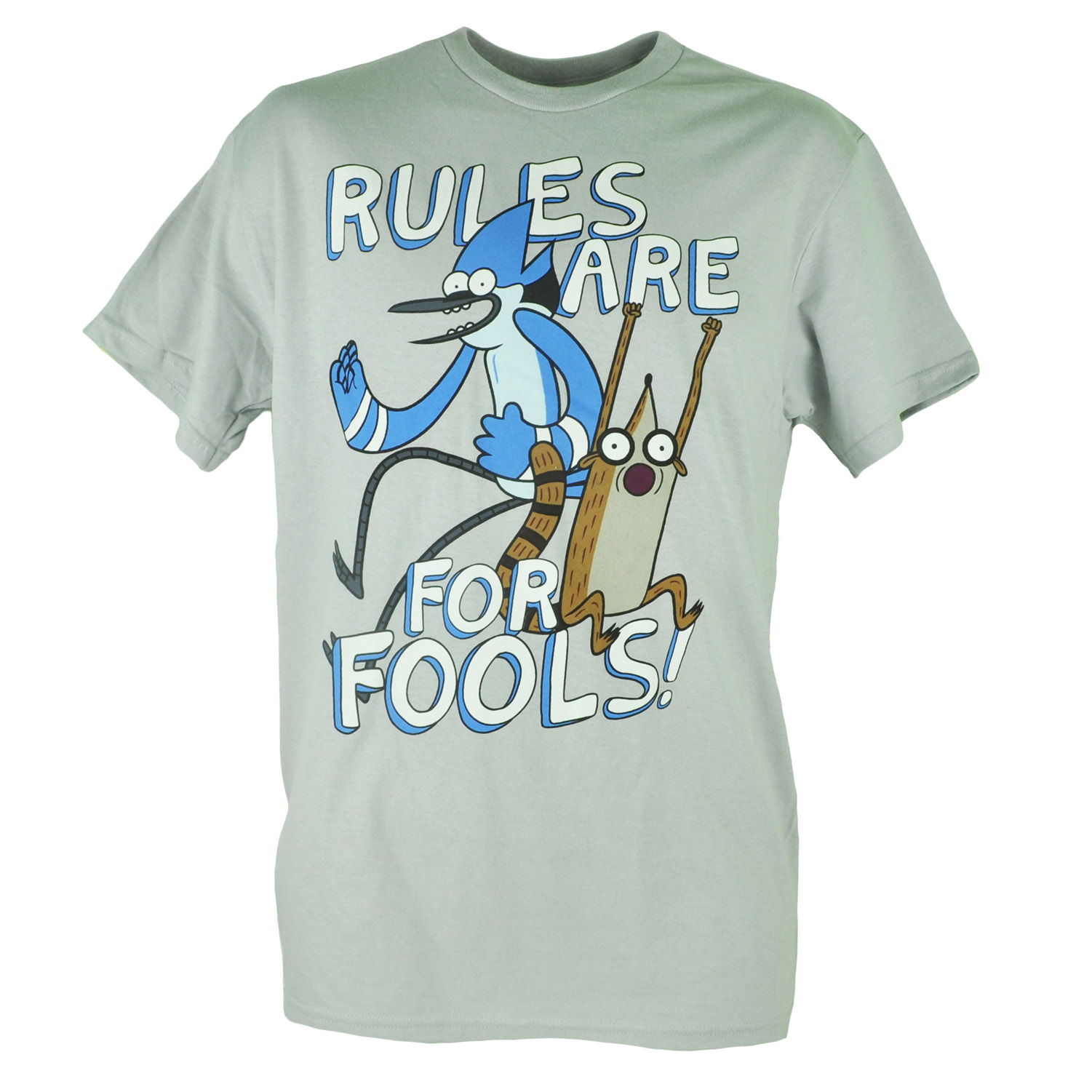 Regular Show Rules Are For Fools Graphic Grey Tshirt Tee XLarge
