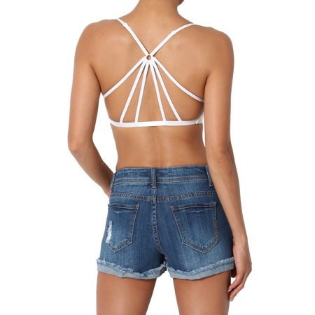 b8b0ac2026 TheMogan Women s Caged Criss Cross Strappy Back Removable Pad ...