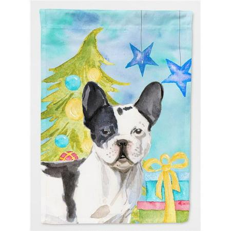 Carolines Treasures BB9407GF Black White French Bulldog Christmas Flag - Garden Size - image 1 de 1