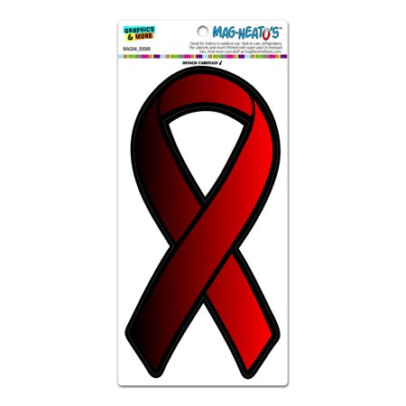 Red Awareness Support Ribbon - AIDS HIV MAG-NEATO'S(TM) Car/Refrigerator Magnet - Hiv Ribbon