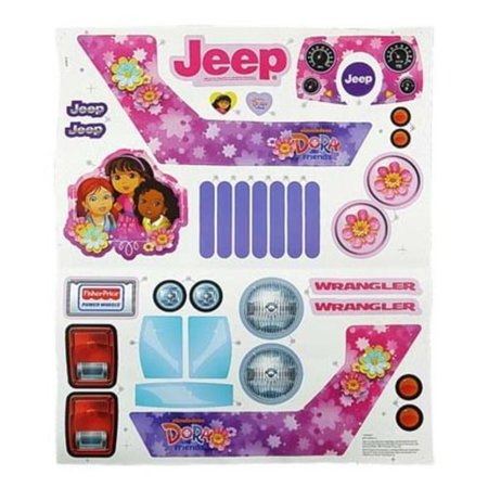 Power Wheels CDD17 Dora The Explorer Jeep Decal Label Sheet Genuine