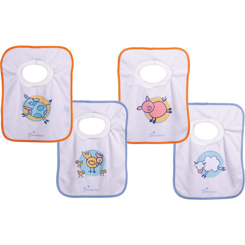 Dreambaby Terry Cloth Pull-Over Bibs, Farm Animals, 4 Pack