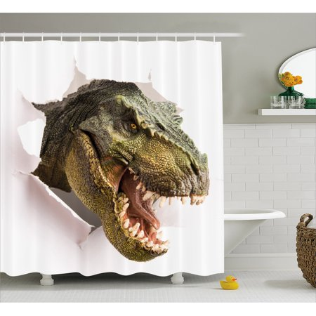 Dinosaur Shower Curtain, Dangerous Dinosaur Tears Up the Paper Wall Image Scary Break Scenery, Fabric Bathroom Set with Hooks, Green Army Green White, by Ambesonne ()