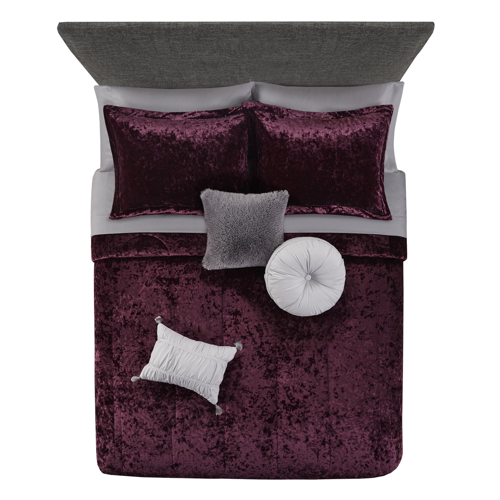 Mainstays Metropolis Velvet 10 Piece Bed In A Bag Bedding Set W Bonus Sheet Set Pillows Full Walmart Com Walmart Com