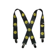 Size one size Kid's Elastic 1 Inch Wide Clip-End Smiley Face Pattern Suspenders