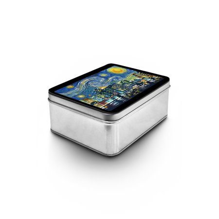 Boston, Massachusetts - Skyline - Van Gogh Starry Night - Lantern Press Artwork (Keepsake Tin) (Kids Store Boston)