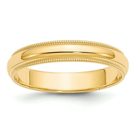 14K Yellow Gold 4mm Milgrain Half-Round Wedding Band Size 4 to
