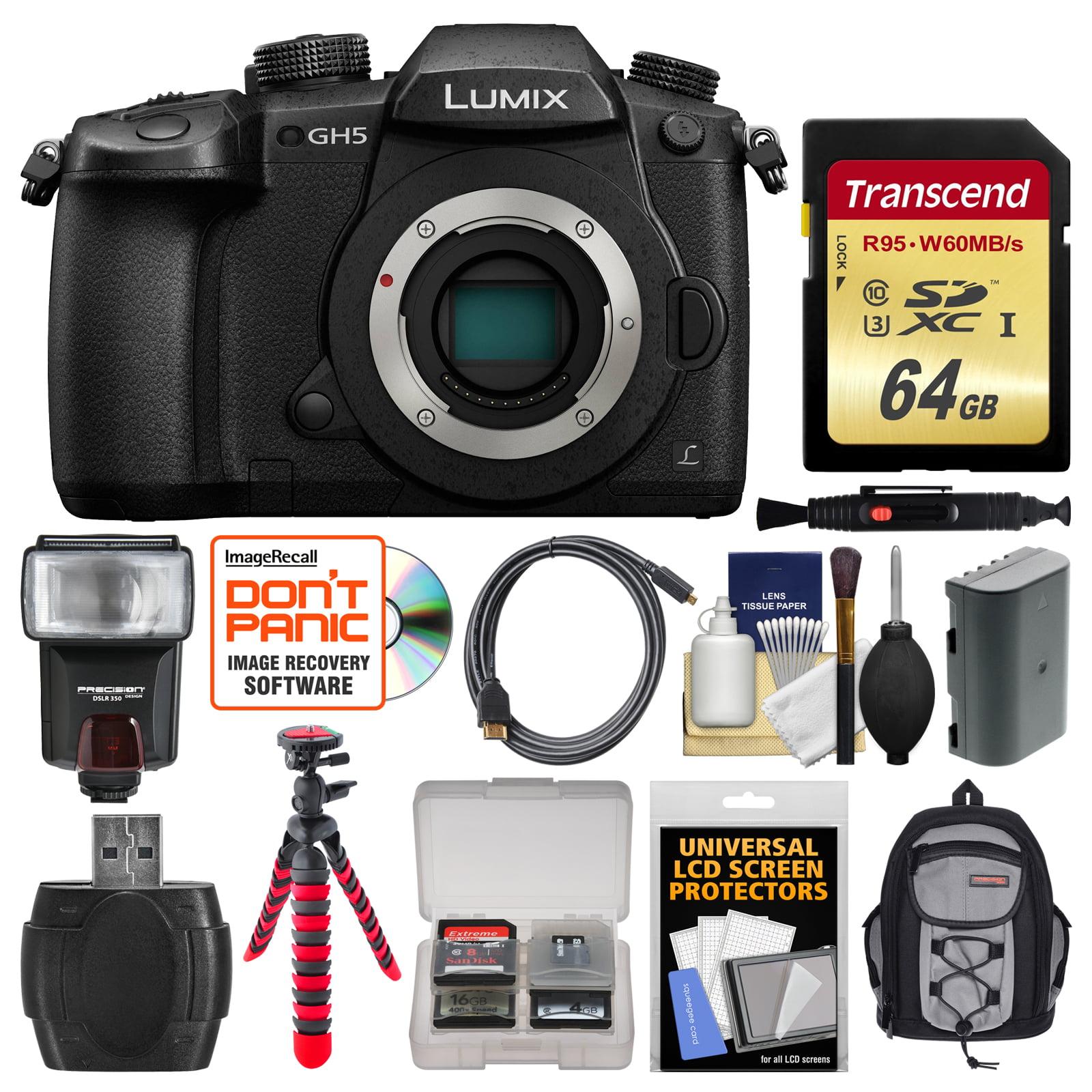 Panasonic Lumix DC-GH5 Wi-Fi 4K Digital Camera Body with 12-35mm Lens + 64GB Card + Backpack + Flash + Battery... by Panasonic