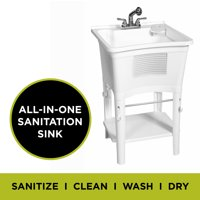 Ergo Tub by Zenna Home Freestanding Sanitation Sink Complete Laundry Sink Work Center with Pull-Out Faucet, White