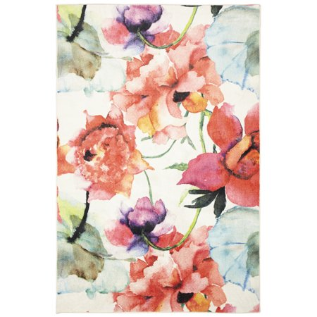 Mohawk Prismatic Area Rugs - Z0344 A416 Contemporary Dark Salmon / Old Rose Bleached Blossoms Stems Vines Rug - Punk Mohawk