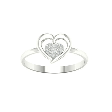 5a08987df72 IGI Certified Imperial 1/20Ct TDW Diamond S925 Sterling Silver Cluster  Heart Fashion Ring (H-I, I2)