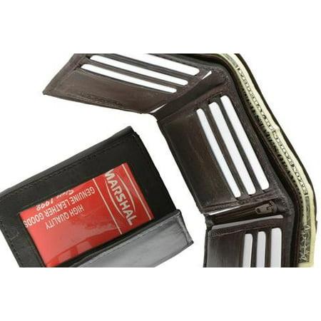 Mens Lambskin Leather Trifold Multi Card Holder Outside ID Window Wallet 1355 (C) Brown