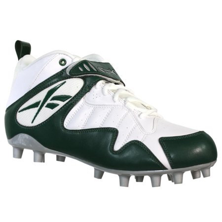 Reebok Pro All Out One Mid Mp Mens Football Cleats White Green 12 Strap Mid Football Cleat