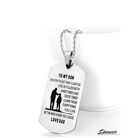 - Spencer Metal Alloy To My Son From Mum Dad Dog Tag Pendant Necklace Military Jewelry Personalized Dogtags Birthday Gift