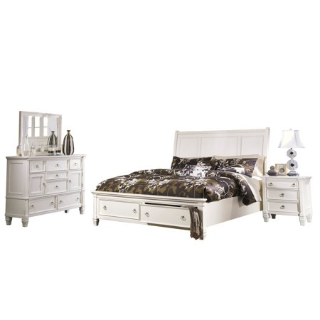 Ashley Furniture Prentice 4 PC Bedroom Set: Queen Sleigh Bed Dresser Mirror 1 Nightstand White ()