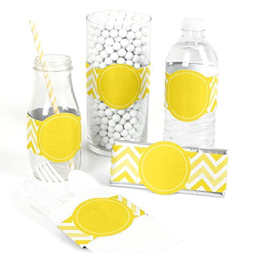Chevron Yellow - DIY Party Wrapper Favors - Set of 15
