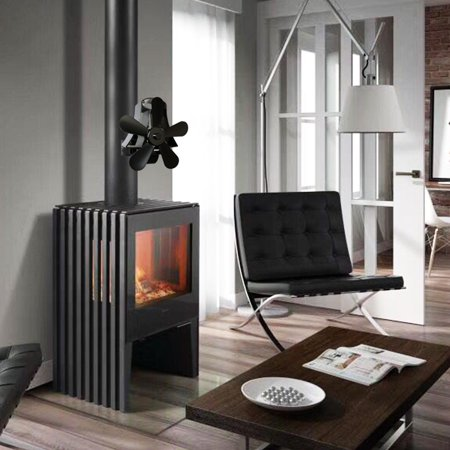5 Blades Wall Mounted Heat Stove Fan Black Heater Fireplace Self-Powered Wood Burning Top Log Burner Silent Eco Friendly Fuel Saving Low Maintenance Disperses Warm Air