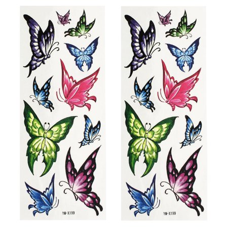 Colorful Butterfly Tattoos (2 Sheets Body Art Removable Butterfly Pattern Sticker Temporary Tattoos)