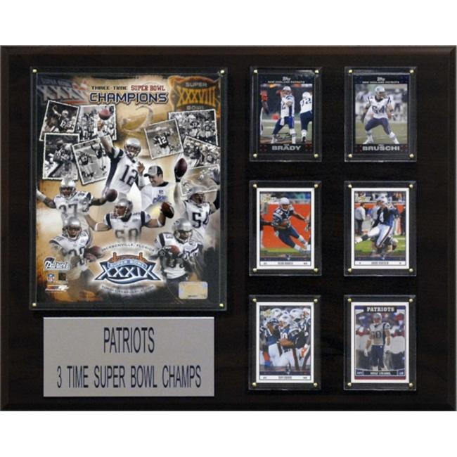 C & I Collectables 1620PATS3TIME NFL New England Patriots 3 Time Super Bowl Champs Champions Plaque