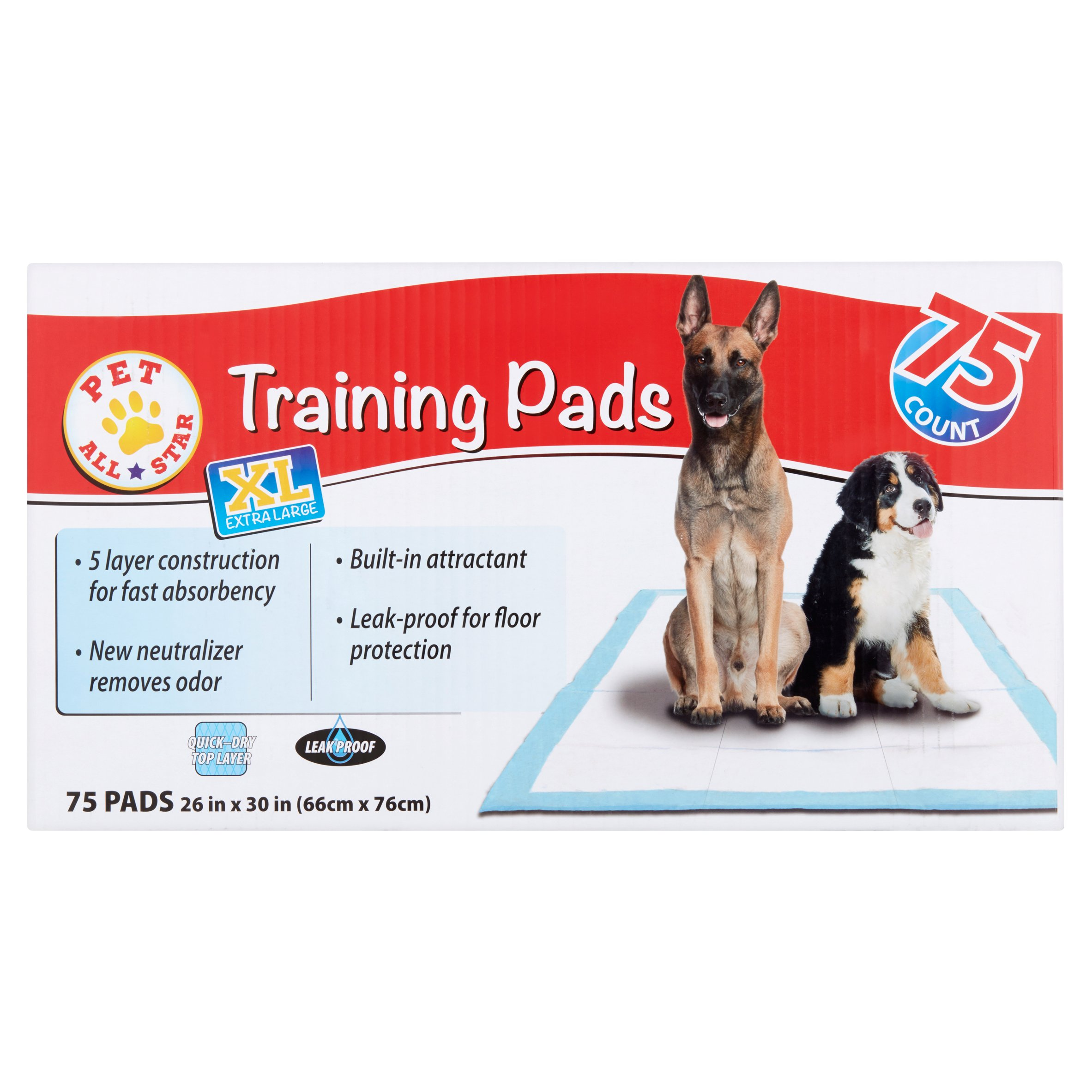 Pet All Star Extra Large Training Pads, 75 count by Wal-Mart Stores, Inc.